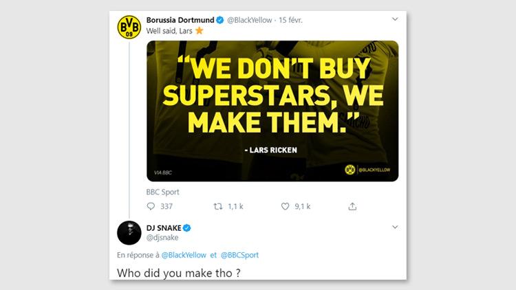 Le CM de Dortmund lance le match face au PSG sur Twitter