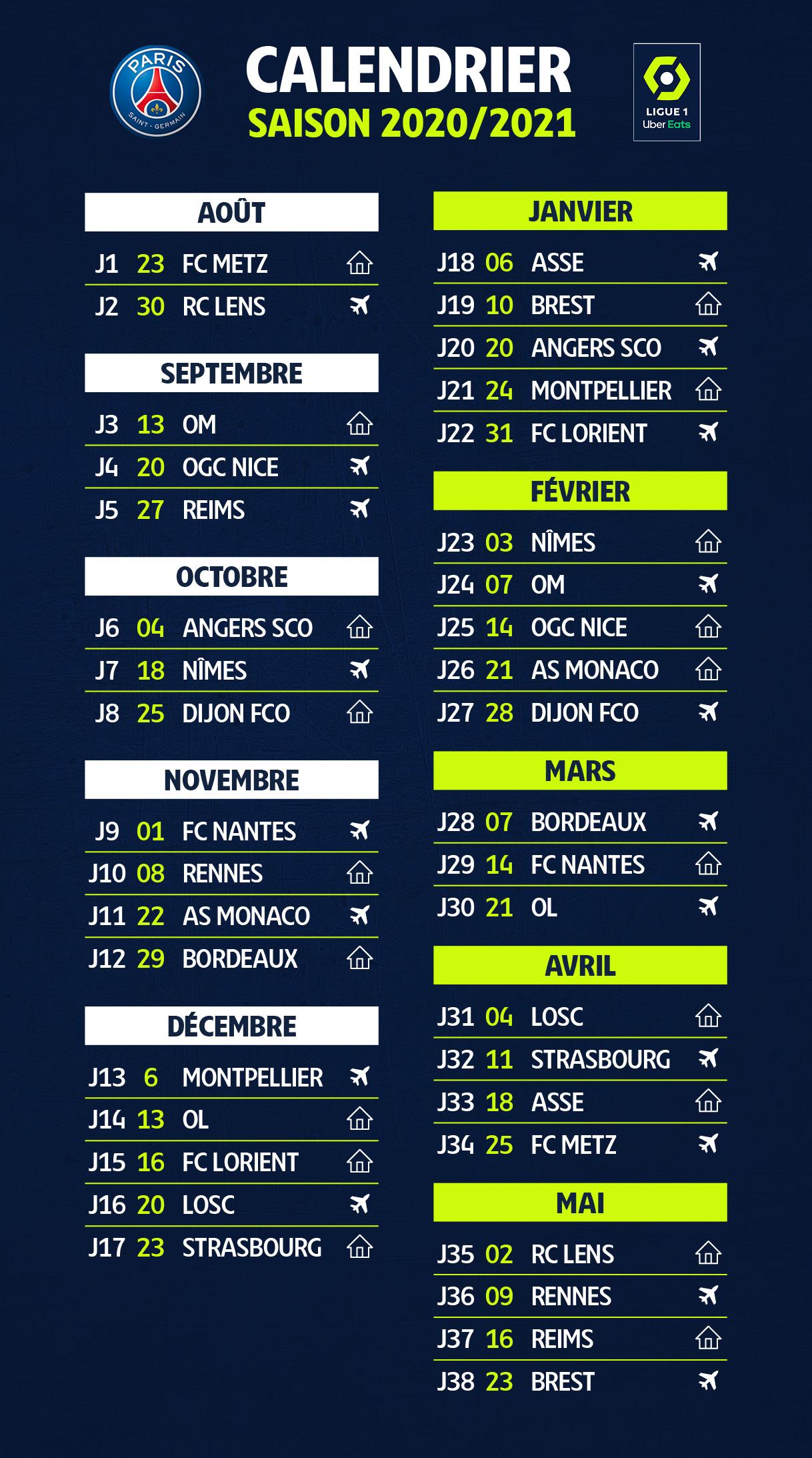 Club : La LFP officialise le calendrier 2020/2021 du PSG | CulturePSG
