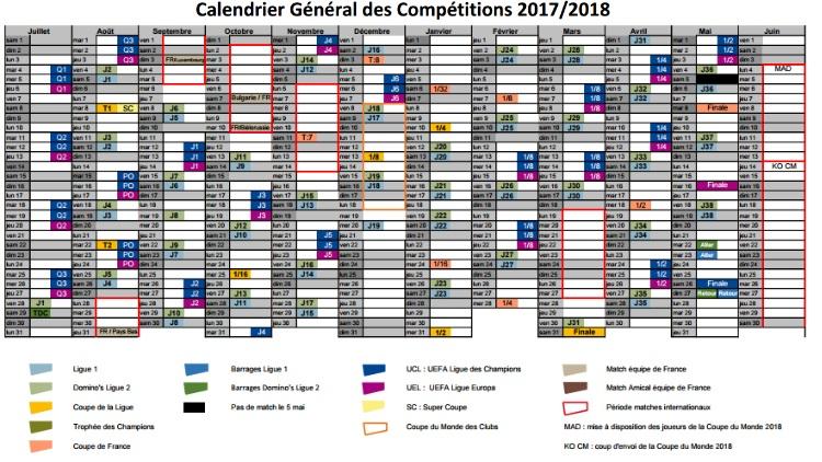 Club : Les grandes dates de la saison 2017/2018 dévoilées ...