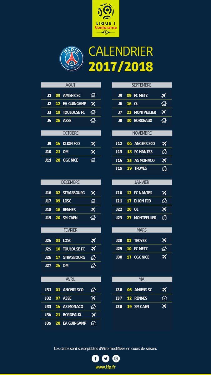 Club : Le calendrier 2017/2018 du PSG en Ligue 1 dévoilé | CulturePSG