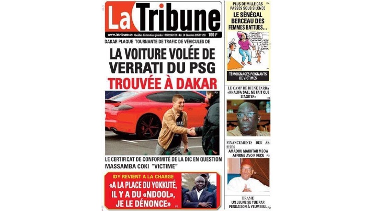 La voiture volée de Marco Verrati de PSG retrouvée à Dakar